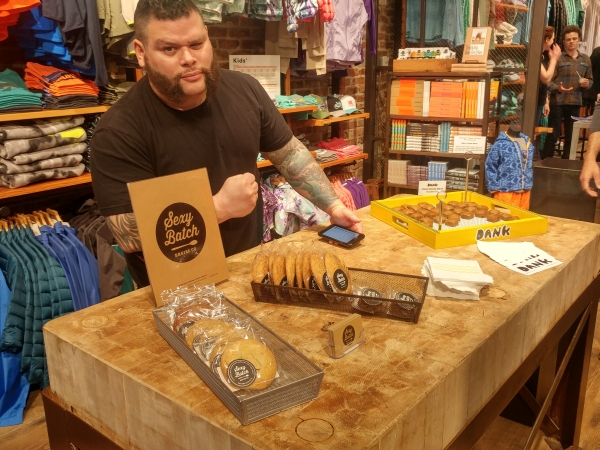Sexy Batch and Dank Banana Bread goodies at the GCC event at Patagonia Meatpacking store in NYC on 4/20/2017.