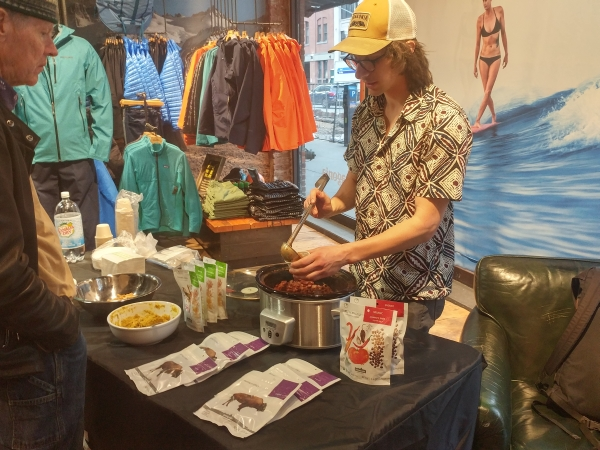 Patagonia Provisions serving up chili at the GCC event at Patagonia Meatpacking store in NYC on 4/20/2017.