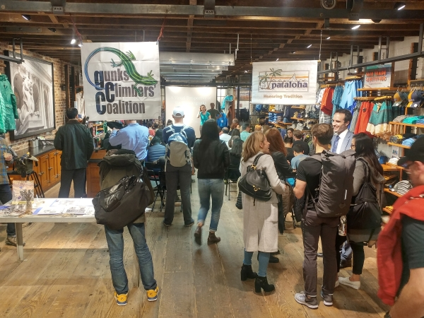 Standing room only at the GCC & Chris Vultaggio presentation at the GCC event at Patagonia Meatpacking store in NYC on 4/20/2017.
