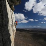 Photo of a rock climber on CCK in the Gunks, by Chris Vultaggio.