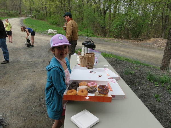 The Mohonk Preserve provided donuts and coffee to the volunteers who showed up for the Gunks Climbers' Coalition Adopt-A-Crag day clean up at Bonticou Crag.