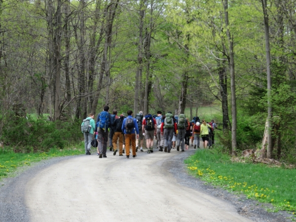 The volunteers hike to Bonticou Crag in the Mohonk Preserve. for the Gunks Climbers' Coalition Adopt-A-Crag day clean up.