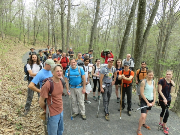 The volunteers at Bonticou Crag in the Mohonk Preserve. for the Gunks Climbers' Coalition Adopt-A-Crag day clean up.