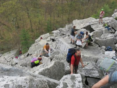 Volunteers working their way up the talus of the Bonticou Crag Ascent Path in the Mohonk Preserve. for the Gunks Climbers' Coalition Adopt-A-Crag day clean up.