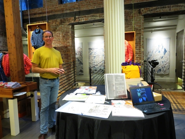 Matt Logan mans the GCC table at Tommy Caldwell's book event at Patagonia Soho in NYC on 5/16/2017.