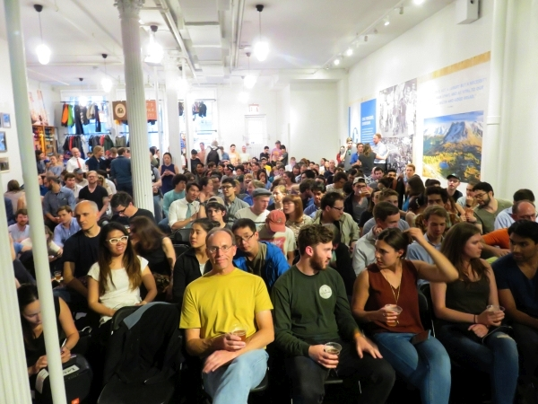 The crowd at Tommy Caldwell's presentation at Patagonia Soho in May 2017.