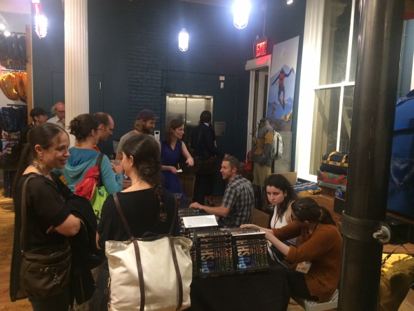 Tommy Caldwell signing his book, The Push, at the Patagonia Soho store in May 2017.
