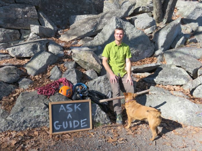 Dustin Portzline, Gunks climbing guide, offering his services.
