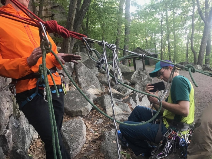 Alan Kline teaching haul systems at a free climbing clinic at the Gunks in May 2017.