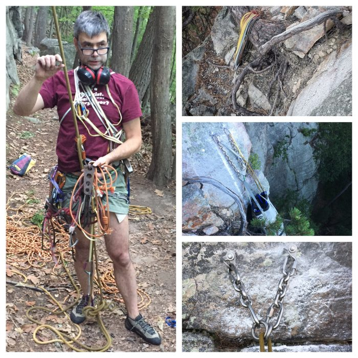 Gunks Near Trapps new bolted anchors: Christian Fracchia after cleaning the Falled on Account of Strain Anchor. The Harvest Moon Tree Anchor. The New Harvest Moon Bolted Anchor. The New Bolted Falled anchor.