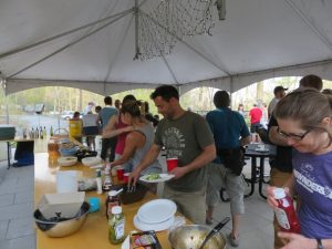 The food line at the Gunks Climbers' Coalition Spring BBQ in 2016.