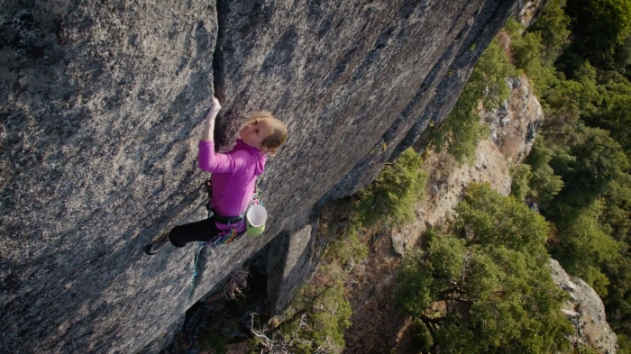 "Beth Rodden rock climbing, still from the video ""Above the Fray"" from the No Man's Land Film Festival, showing October 2017 at the Gunks."