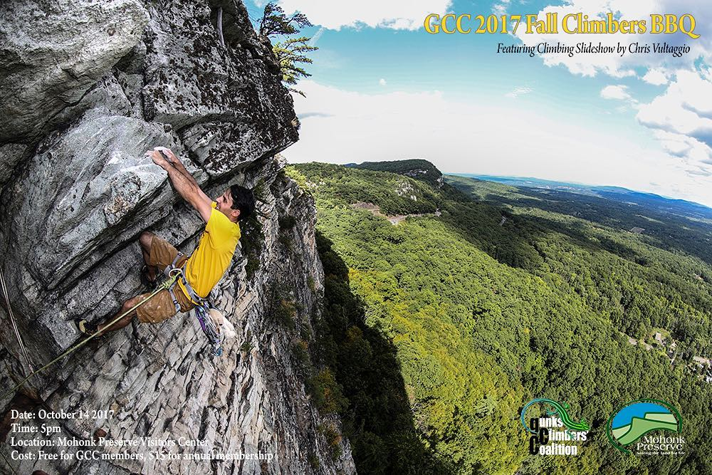 Photograph of a rock climbing at the Gunks by Chris Vultaggio.