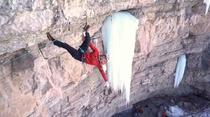 "Woman doing mixed ice climbing, still from the video ""Katie Bono On All Arounding,"" from the No Man's Land Film Festival."
