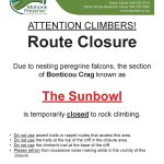 Poster for 2018 Gunks Bonticou Sunbowl closure due to nesting peregrine falcons.