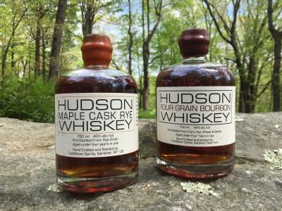 Hudson Maple Cask Rye Whiskey or Hudson Four Grain Bourbon Whiskey from Tuthilltown Spirits in Gardiner, NY.