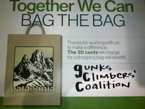 Patagonia Meatpacking sign from their grand opening party in 2012, donating 20 cents per shopping bag to the GCC.