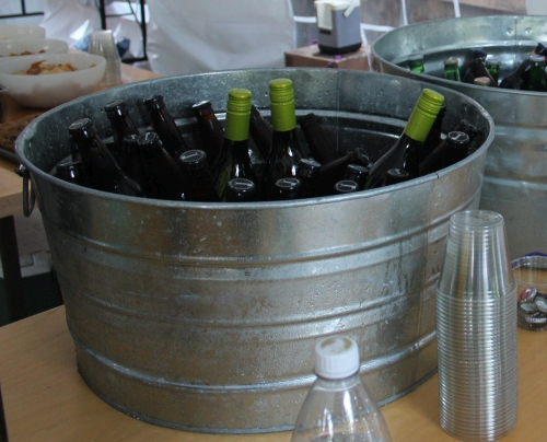 Bucket full of wine at the GCC BBQ in 2017. Wine donated by Stone Ridge Wine & Spirits.