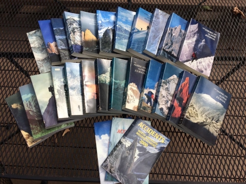 Dick Williams donated his collection of American Alpine Journals from 1977 through 2000, including the Accidents in North America (1997, 1998, 2000) and the Membership Handbook (1999/2000).