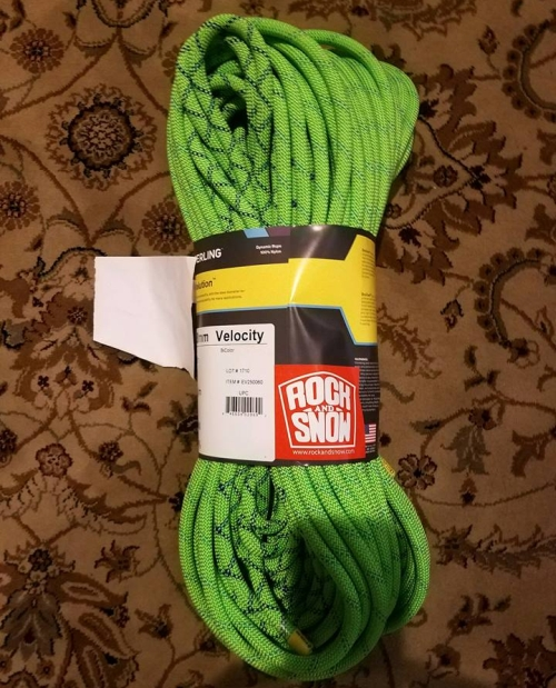 Sterling Velocity rope donated by Rock and Snow for a GCC BBQ raffle prize in 2017.