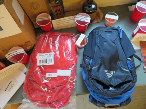Two Gregory Miwok 18 day packs, donated for the Gunks Climbers' Coalition Spring BBQ in 2018.