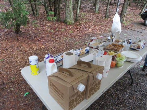 Table of breakfast foods for the Adopt-a-Crag volunteers, thanks to the Mohonk Preserve.
