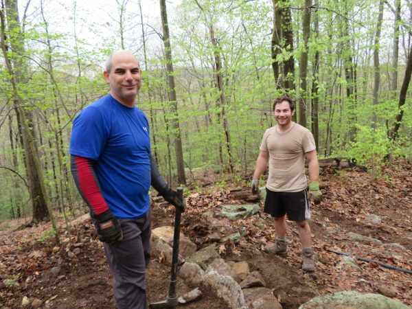 Working on the water bars along Kings Lane at Lost City at the GCC Adopt-a-Crag day, May 2018.