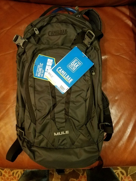 Camelbak Mule pack donated by Rock and Snow for a GCC BBQ in 2017.