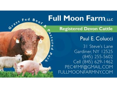 Full Moon Farm business card, Gardiner, NY