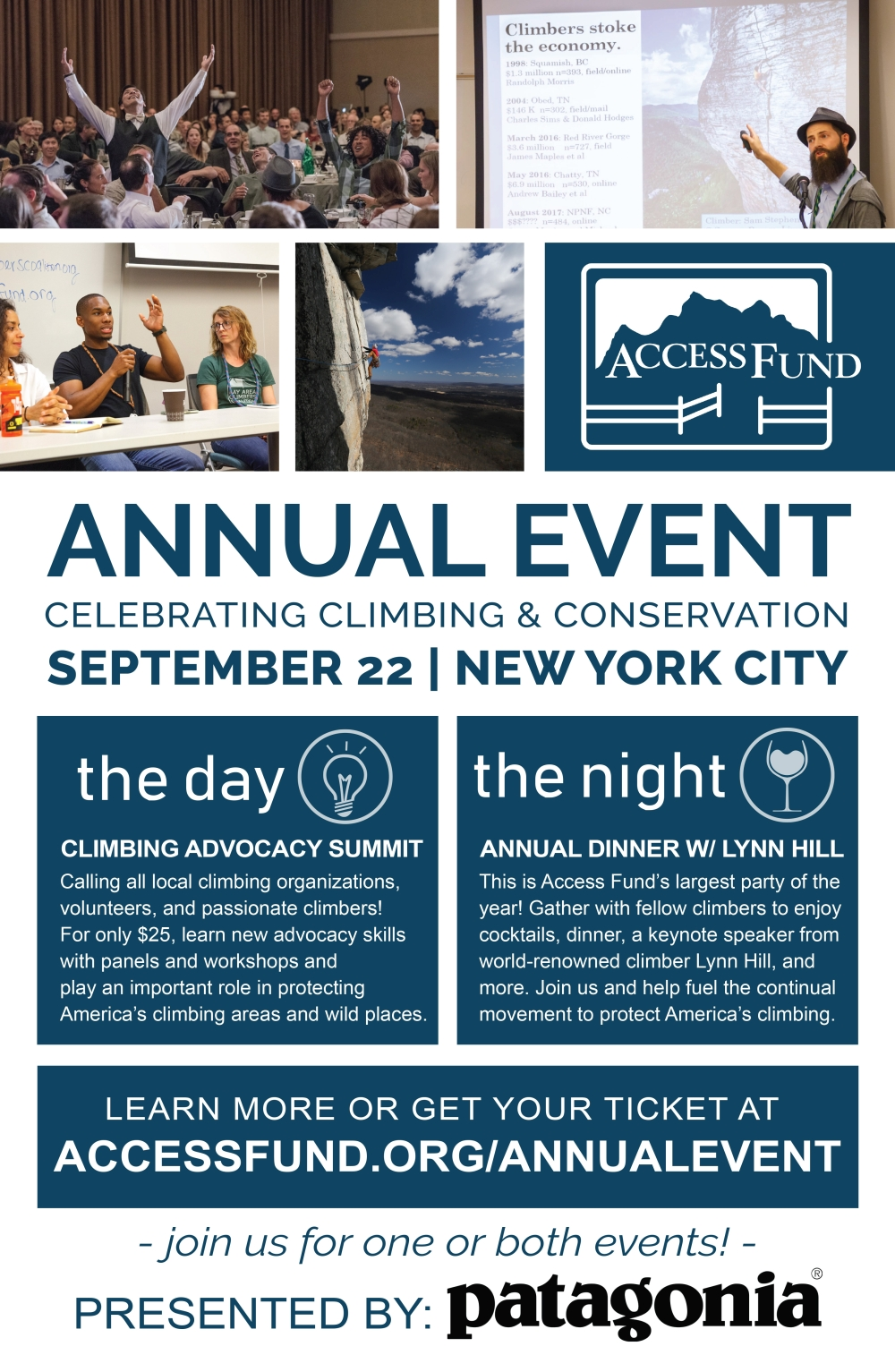 Flyer for the Access Fund Summit in NYC in September, 2018.