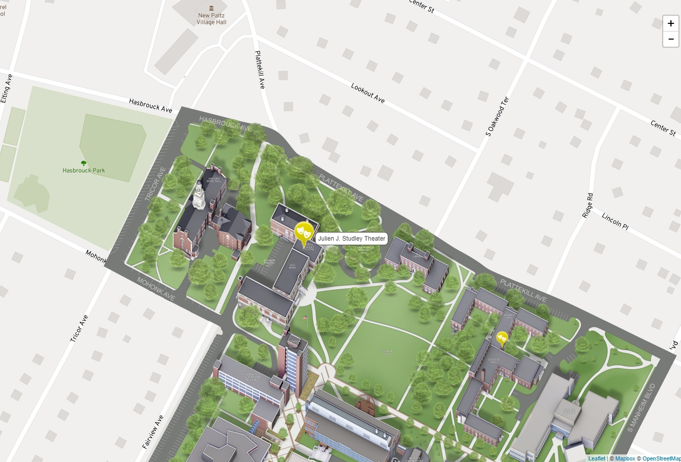 Excerpt of map showing location of the Studley Theatre on the campus of SUNY New Paltz.