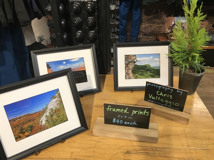 Some of Chris Vultaggio's Gunks photography for sale at the Patagonia Meatpacking store in NYC on 12/9/2018.