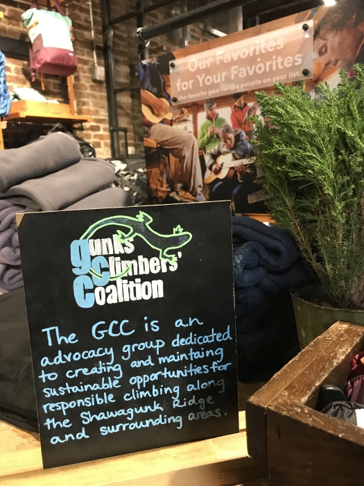 Sign about the GCC at the Patagonia Meatpacking store in NYC at Chris Vultaggio's presentation and photography sale at the store on 12/9/2018.