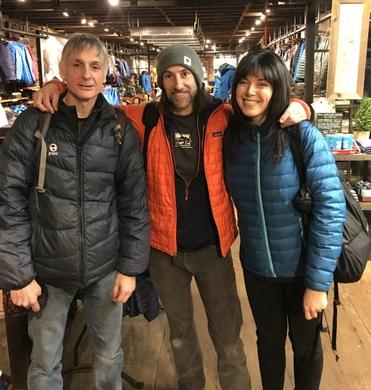 GCC Chair, Pete Cody, with GCC board member & photographer, Chris Vultaggio and musician and Bears Ears activist, Alexis Krauss at the Patagonia Meatpacking store in NYC where Chris presented and sold photography on 12/9/2018.