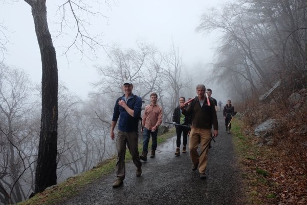 GCC & SUNY New Paltz Outing Club head to the Trapps' Sleepy Hollow area on a trail work day, April 2019, Mohonk Preserve.