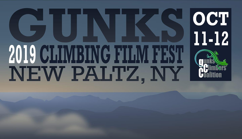 2019 Gunks Climbing Film Festival banner, New Paltz, NY.