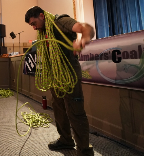 Sterling Rope Coiling Contest at the Gunks Climbing Film Festival, October 2019.