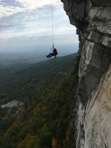 Chris Vultaggio, photographer and Gunks Climbers' Coalition Board Member, shooting in the Gunks.