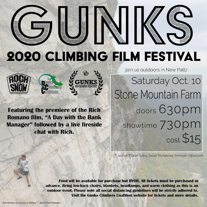 Gunks Climbing Film Festival 2020 poster