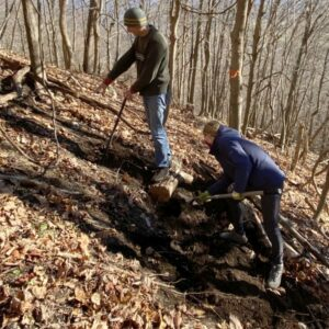 Working on trail to Antlion cliff in the Gunks in December, 2020.