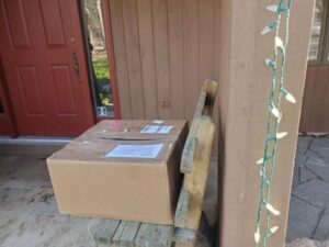 Box shipped with equipment to move heavy rocks for the Antlion trail building work.