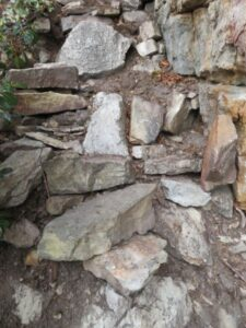 Steps in progress to south-facing wall at Antlion cliff in the Gunks.
