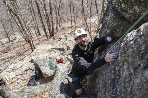 Matthew Lynch getting some gunks time with the Adaptive Climbers group.