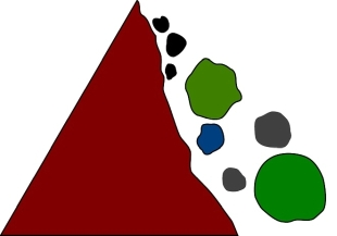 illustration of rocks falling off of a mountain.