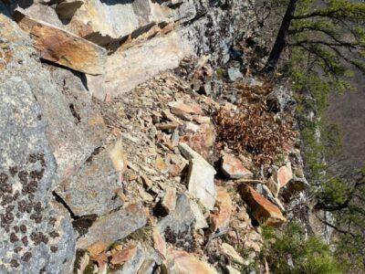 Rockfall on ledge in Near Trapps, Gunks