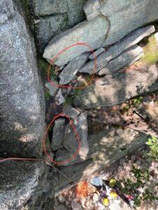 Loose rocks on Three Pines at the Gunks.