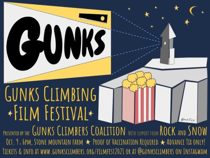 Poster for Gunks Climbing Film Festival 2021.